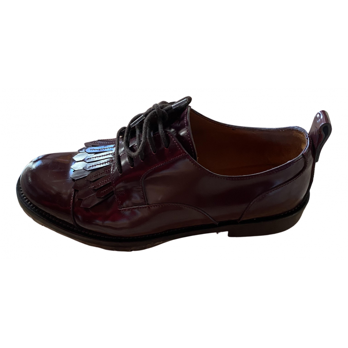 Valentino Garavani Rockstud Burgundy Leather Flats for Women 37 EU