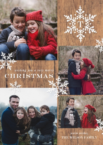 Christmas Photo Cards 5x7 Cards, Premium Cardstock 120lb with Rounded Corners, Card & Stationery -Christmas Initial Snowflake