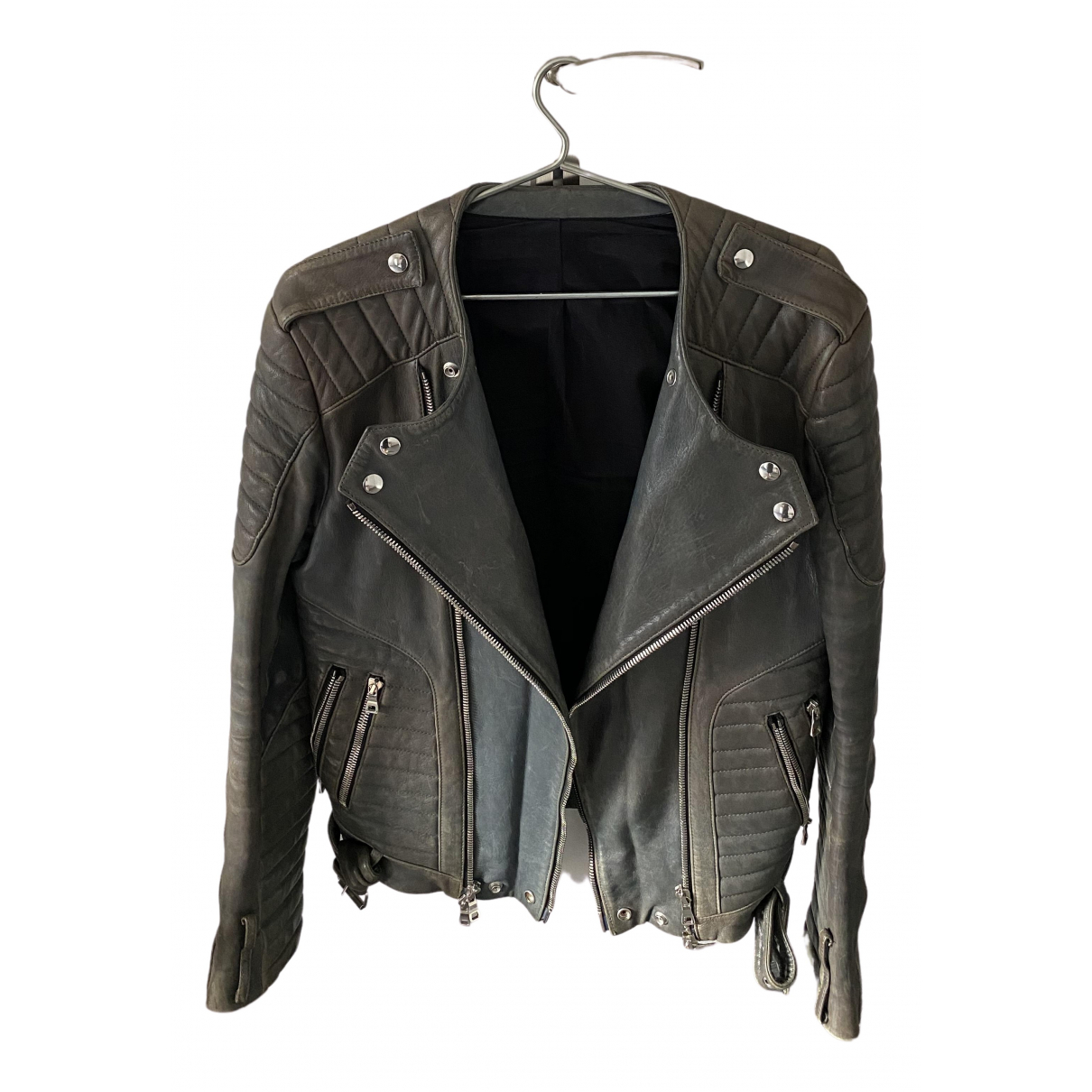 Balmain N Grey Leather jacket  for Men 52 FR