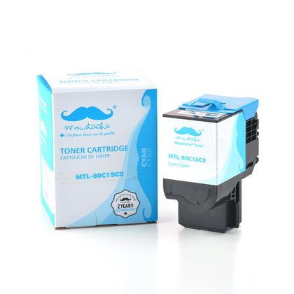 Compatible Lexmark 80C1SC0 cartouche de toner cyan - Moustache@