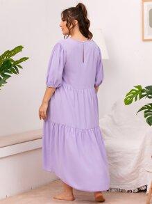 Plus Solid Ruffle Hem High Low Dress