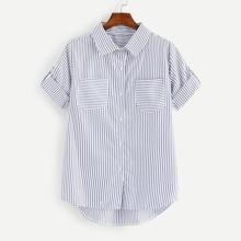 Roll Tab Sleeve Pocket Patch Striped Shirt