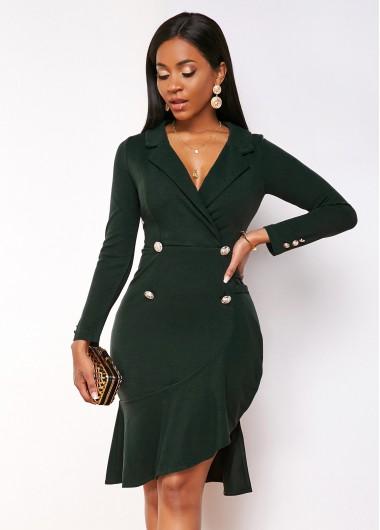 Cocktail Party Dress Ruffle Hem Long Sleeve Notch Collar Dress - L
