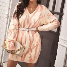 Drop Shoulder Tie Dye Sweater Dress Without Belt