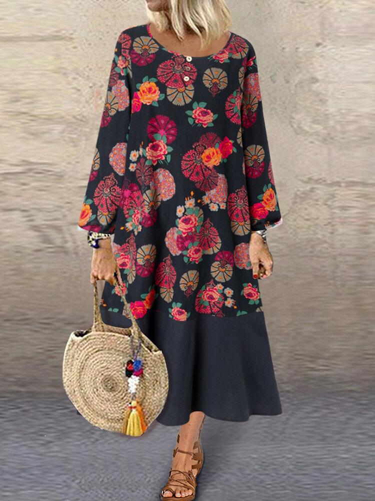 Vintage Ethnic Print Patchwork Long Sleeve Plus Size Dress