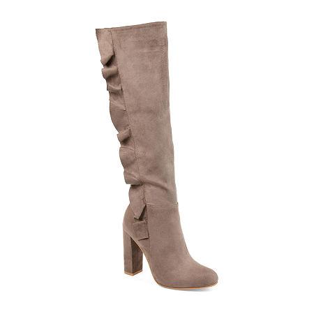 Journee Collection Womens Vivian-Xwc Dress Boots Block Heel Zip, 7 Medium, Beige