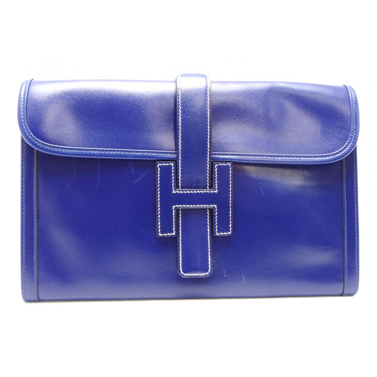 Hermes Jige Clutch in  Blau Leder