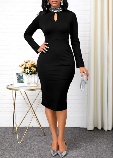 Women'S Black Long Sleeve Mock Neck Sheath Cocktail Party Dress Solid Color Keyhole Neckline Midi Elegant Dress By Rosewe - L