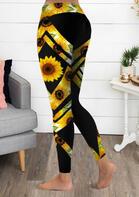Sunflower Yoga Fitness Sports Activewear Leggings - Black