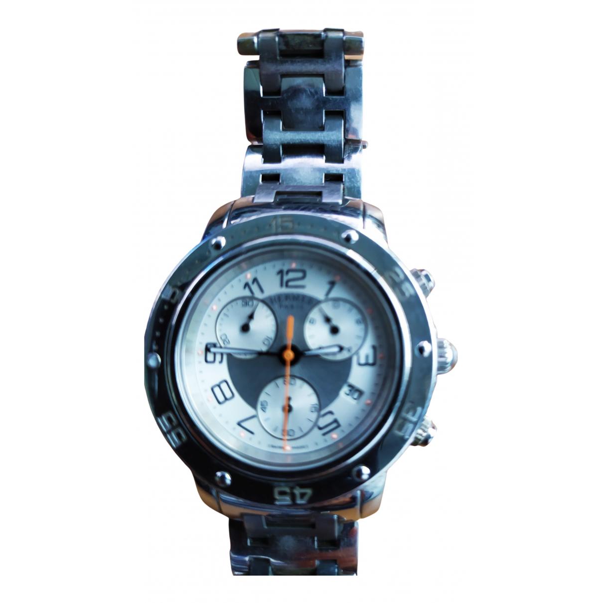 Hermes - Montre Clipper Chronographe pour femme en acier - argente