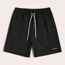 Guys Drawstring Waist Patched Detail Shorts