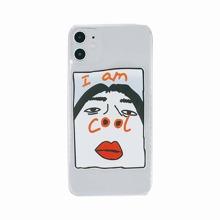 1 pieza funda de iphone con estampado de caracter divertido