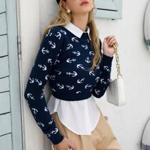 Allover Anchor Pattern Crop Sweater