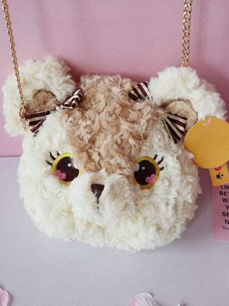 Milanoo Sweet Lolita Handbag Light Brown Long Plush Cross Body Bag Lolita Accessories