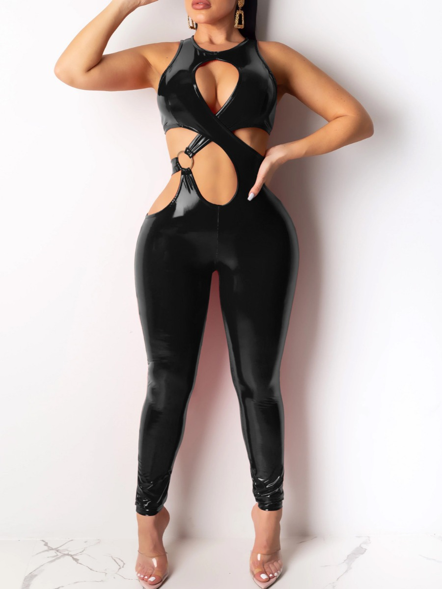 LW lovely Sexy Hollow-out Black One-piece Jumpsuit