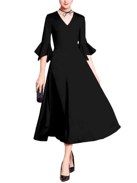 Milanoo Vestido de madre de novia con cuello en V medias mangas una linea de te de longitud volantes vestidos de invitados para la boda