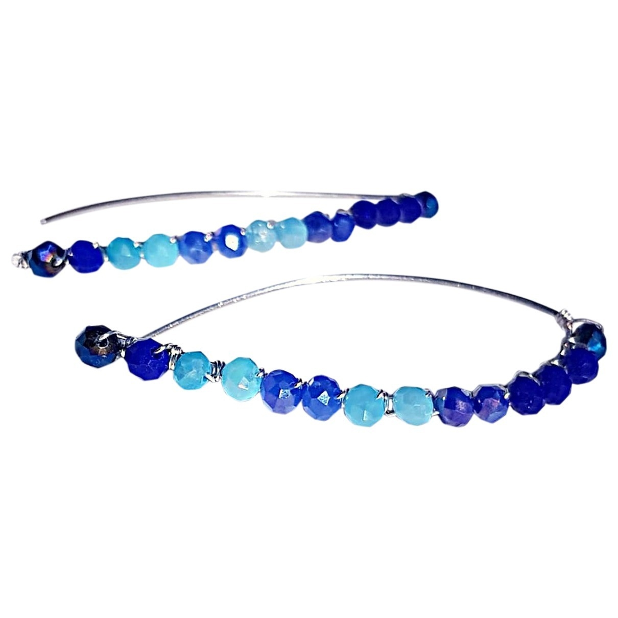 Non Signé / Unsigned \N Blue Crystal Earrings for Women \N