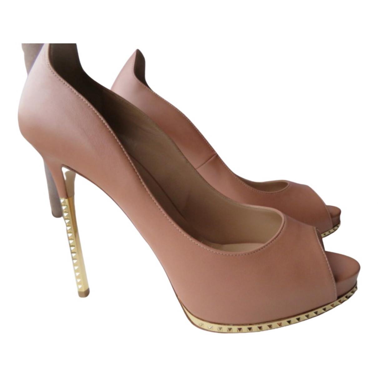 Valentino Garavani Rockstud Beige Leather Heels for Women 40 EU