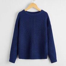 Boys Solid Drop Shoulder Sweater