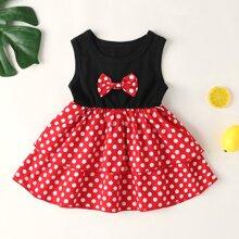 Baby Maedchen Kleid mit Schleife vorn, mehrschichtigem Design und Punkten Muster