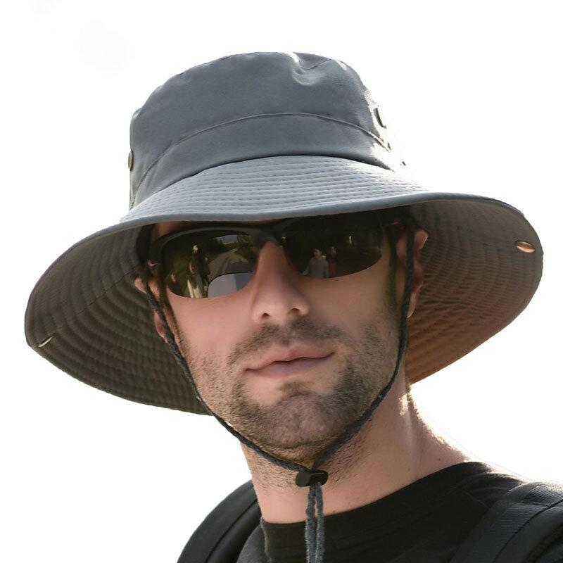 Men Summer Visor Bucket Hat Fisherman Hat Outdoor Climbing Breathable Sunscreen Cap