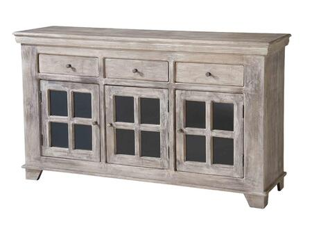 12332 Holden 3 Drawers & 3 Sliding Doors Console  Rectangular Shape  in a Hand-Painted Spice Road
