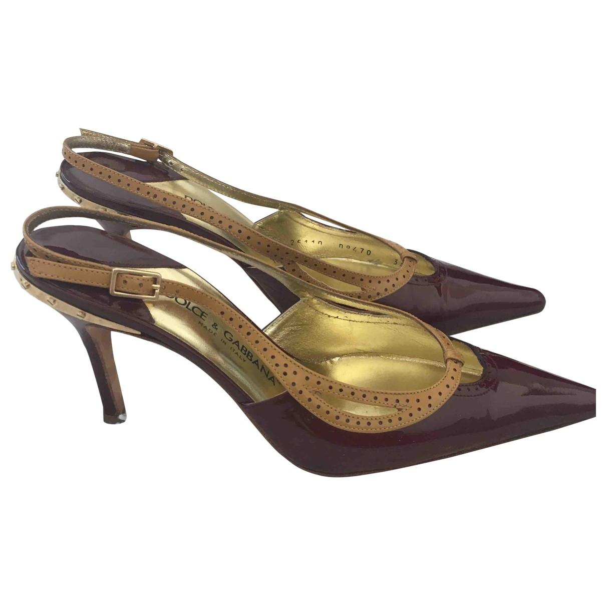 Dolce & Gabbana - Escarpins   pour femme en cuir verni - bordeaux