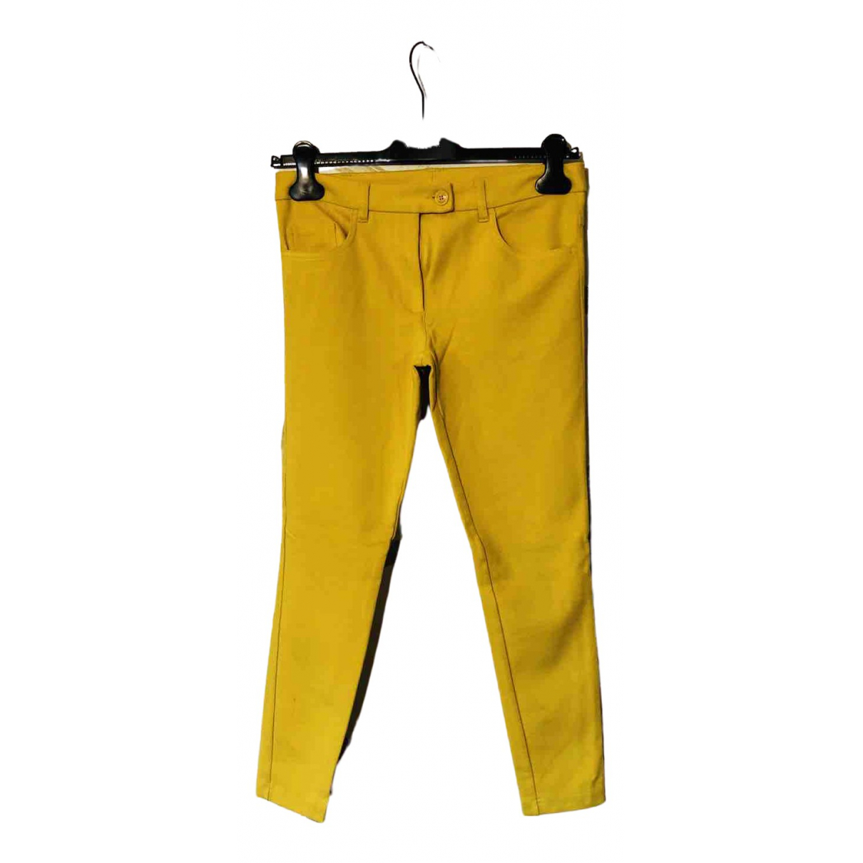 Moschino \N Yellow Cotton Trousers for Women 38 IT