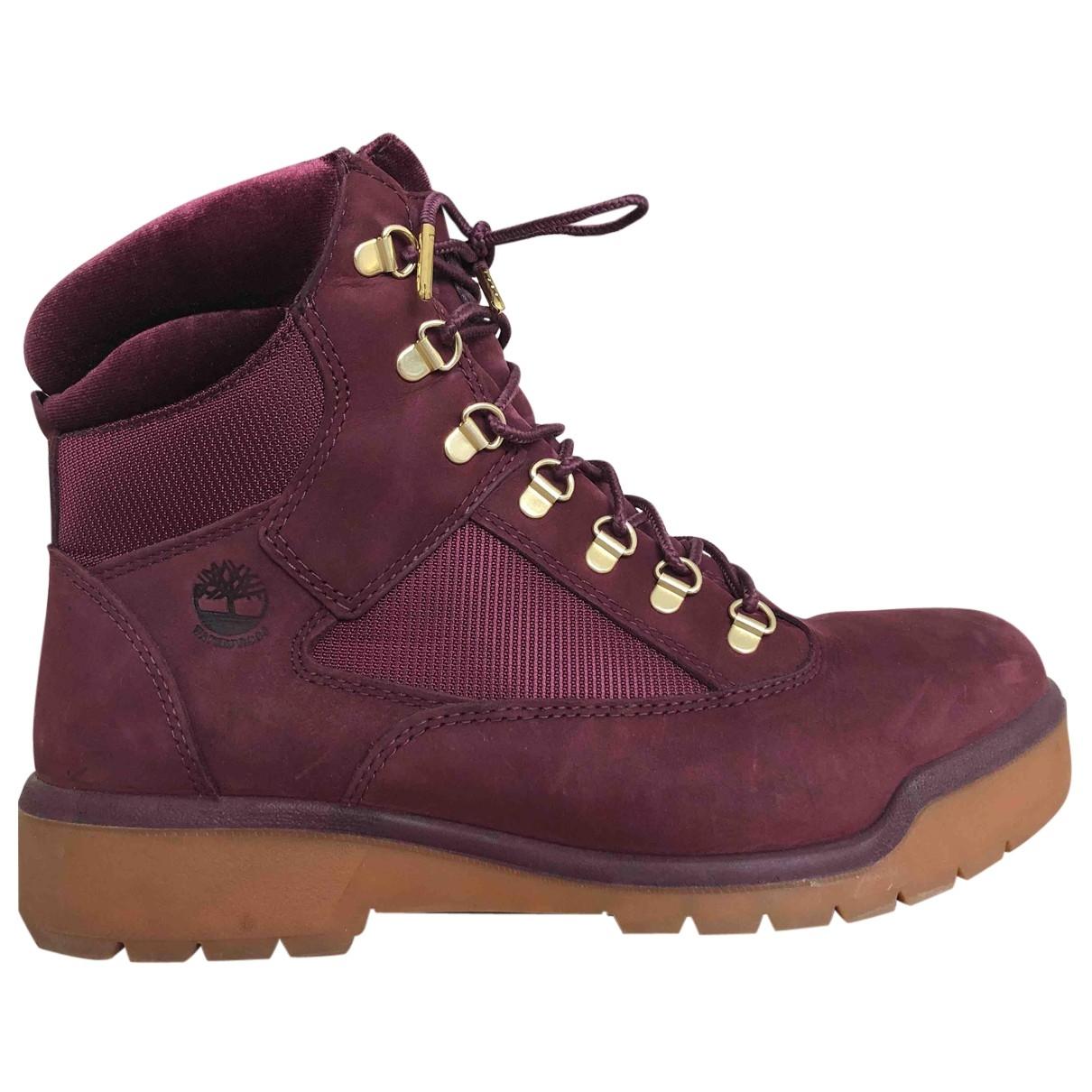 Timberland \N Burgundy Velvet Boots for Men 44 EU