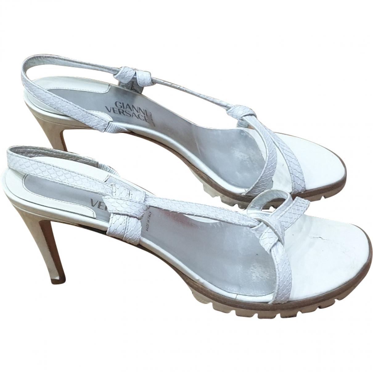 Gianni Versace \N White Python Sandals for Women 38.5 EU