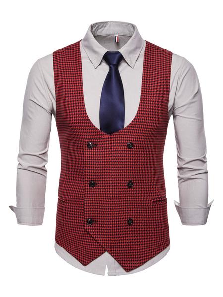 Milanoo Men Waist Coat Plus Size Double Breasted Suit Vest Houndstooth Pattern U Neck Cotton 1950s Tuxedo