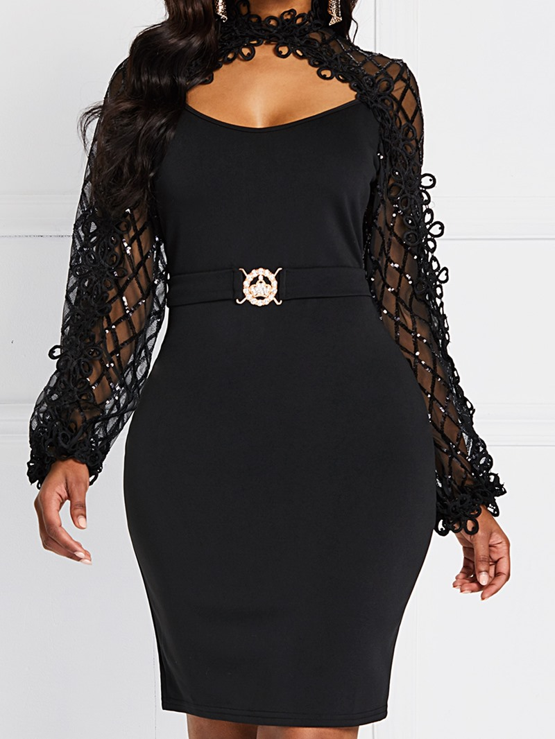 Ericdress Long Sleeve Mid-Calf Lace Bodycon Sexy Dress