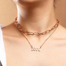 2 Stuecke Halskette mit Nummer Anhaenger