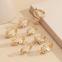8 piezas anillo con diseño de hoja