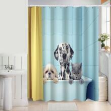 Dog Print Shower Curtain