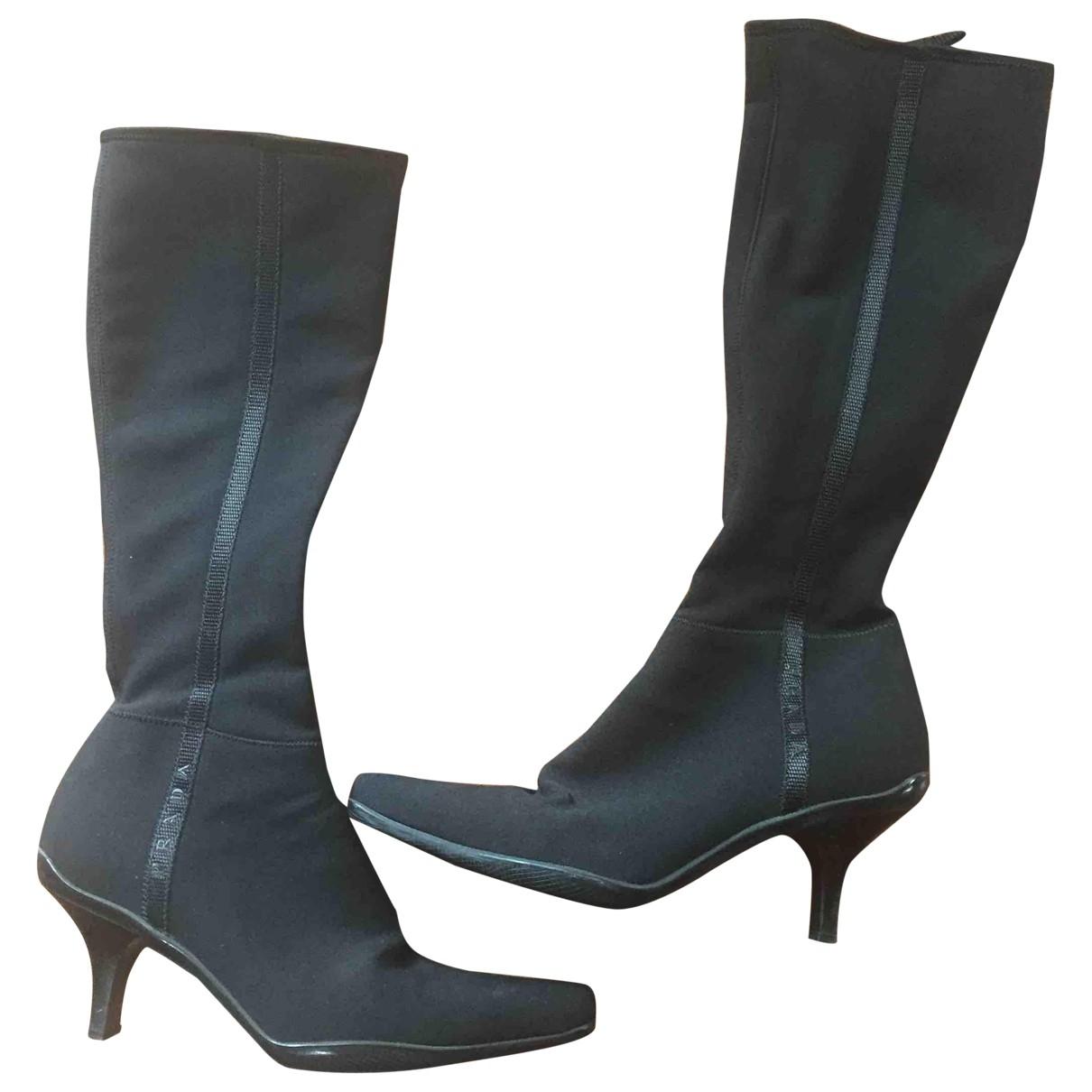 Prada - Bottes   pour femme en toile - noir