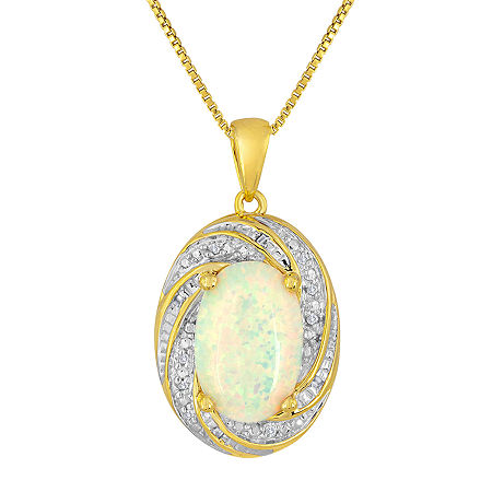 Lab-Created Opal and Diamond-Accent 14K Yellow Gold Over Sterling Silver Pendant Necklace, One Size , No Color Family