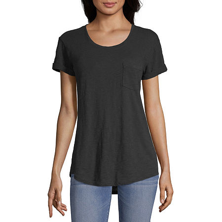 a.n.a-Womens Round Neck Short Sleeve T-Shirt, Petite Xx-large , Black