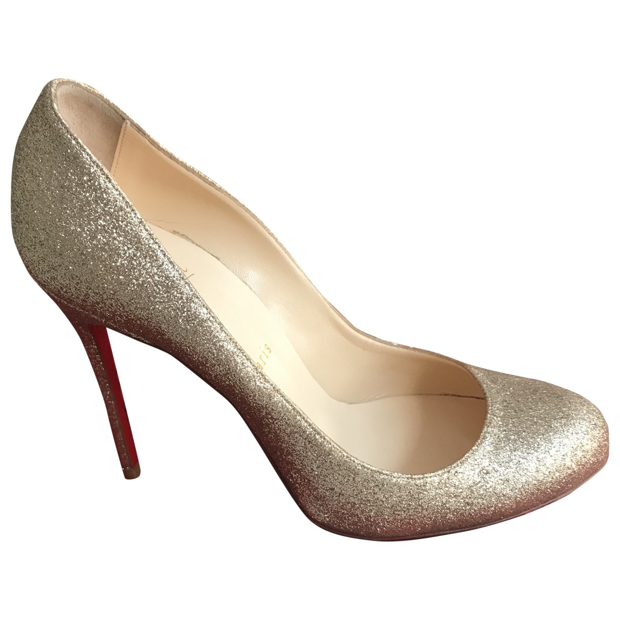 Christian Louboutin Simple pump Gold Glitter Heels for Women 40 EU