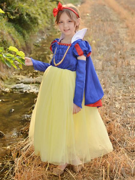 Milanoo Flower Girl Dresses Square Neck Short Sleeves Pleated Snow White Formal Kids Pageant Dresses