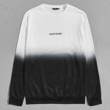 Zweifarbiger Pullover mit sehr tief angesetzter Schulterpartie und Buchstaben Grafik