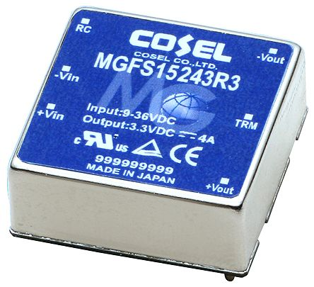 Cosel MGS 15W Isolated DC-DC Converter PCB Mount, Voltage in 36 ? 76 V dc, Voltage out 15V dc