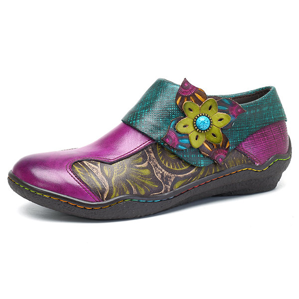 SOCOFY New Printing Splicing Plant Pattern Hook Loop Flower Flat Leather Shoes