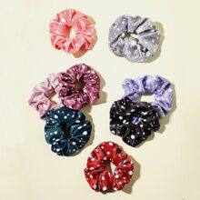 8pcs Polka Dot Print Scrunchies