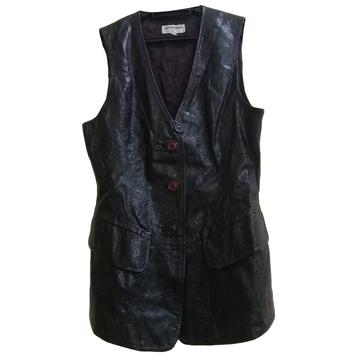 Non Signé / Unsigned \N Black Leather  top for Women 40 IT