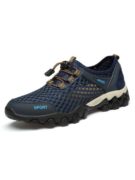Milanoo Mens Sneakers 2020 Comfy Mesh Round Toe Athletic Casual Summer Sneakers