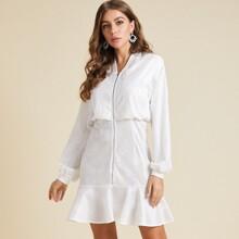 Ruffle Hem Zip Up Blouson Dress