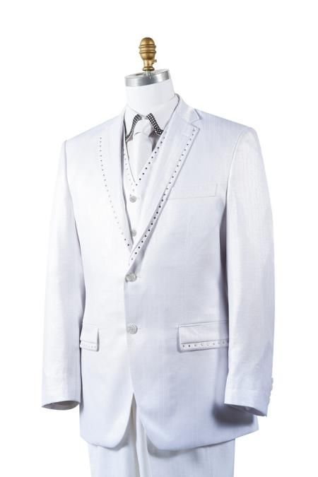 2 Button Tuxedo Trimmed Pleated Pants Vested 3 Piece Mens Suits White