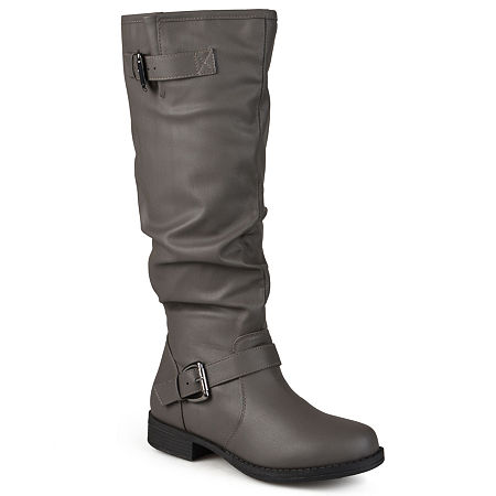 Journee Collection Womens Stormy Extra Wide Calf Riding Boots, 8 1/2 Medium, Gray