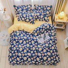 Set de cama con estampado de margarita sin relleno